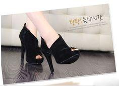 New Fashion Sexy Fish Mouth Women's Super-High Heel Shoes Pump Platform Velvet