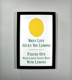 """When life gives you lemons, figure out which liquor tastes best with lemons."" Such good advice!"
