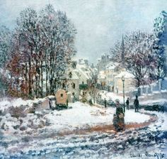 Claude Monet (French, Impressionism, 1840-1926): The Grand Street Entering to Argenteuil, Winter; 1885. Oil on canvas.