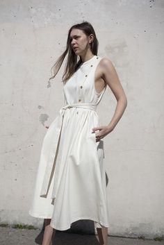 Luisa et la Luna Paloma Dress in White Denim   Oroboro Store   Brooklyn, New York