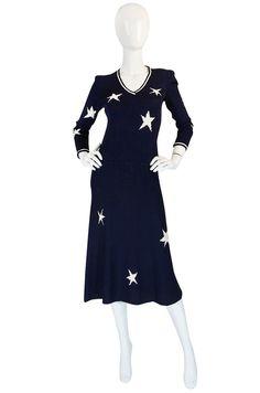 1970s Navy Blue & White Star Print Adolfo Dress