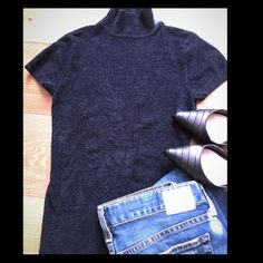 Short sleeve sweater Pre loved super soft sweater. Dark blue. Price firm Cache Sweaters Crew & Scoop Necks