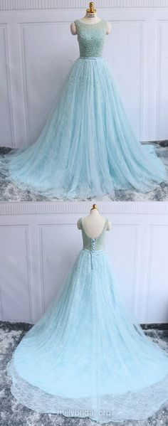 Backless Prom Dresses Long, Ball Gown Formal Dresses Long, Scoop Neck Lace Evening Party Dresses Blue Tulle Pearl Detailing