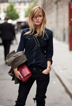 Great hair! | Shoulder length. Side part. Tousled layers. Bangs drawn from position of side part across forehead. Ends texturized for movement. | LA COOL & CHIC