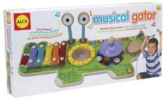 Jam, sing and play with Musical Gator. It's four musical instruments in one, so your little one can be a one tot band with this wooden music center!  #ALEXToys