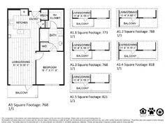 A1 – One Bedroom Apartment / One Bathroom  768 Square Feet