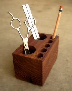 Desktop Caddy from Recycled Cedar Wood by andrewsreclaimed on Etsy, $33.00