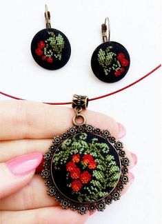 Items similar to Micro embroidery set red berries of Necklace and Earrings, Hand Embroidery, Gift for women, embroidered jewelry on Etsy – Handstickerei Silk Ribbon Embroidery, Embroidery Jewelry, Embroidery Patterns, Hand Embroidery, Diy Gifts To Sell, Diy Gifts For Mothers, Gifts For Women, Modern Cross Stitch Patterns, Cross Stitch Designs