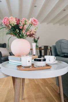Blush Accents And Jo Malone Products On Cox & Cox Side Tables