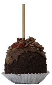 We cover our caramel apple in dark chocolate and roll it in crushed Oreo® cookie. A dark chocolate cover is added and finally topped off with shaved Belgium dark chocolate and dried cherry pieces.