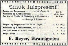 """Juleannonse fra F. Beyer Bokhandel i 1897 (Ugebladet """"Revyen""""). Den annonserte boken """"Bergen og Bergenserne"""" kan leses her: https://www.nb.no/items/ad8f45a96879928aec5ad47a40b16951…""""bergen og bergenserne"""""""
