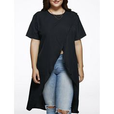 Plus Size High Slit Long Blouse