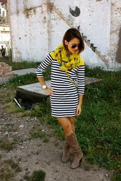 striped dress, boots, scarf -cute & casual