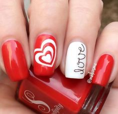 Red Love Nail Art Design for Valentine's Day on We Heart It - nails.quenalbertini: Valentine Nail Art by melcisme - Valentine's Day Nail Designs, Short Nail Designs, Nails Design, Design Design, Heart Nail Art, Heart Nails, Love Nails, Red Nails, Romantic Nails