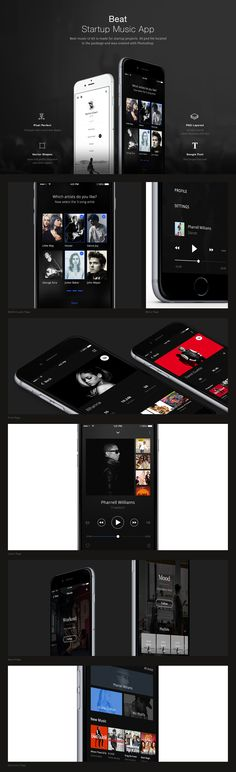 Beat music UI kit is made for startup projects. 40 psd file located in the package and was created with Photoshop.