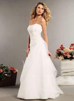 Bröllopsklänningar - $202.15 - A-linjeformat Axelbandslös Hjärtformad Golvlång Tyll Bröllopsklänning med Rufsar Pärlbrodering (0025060176)