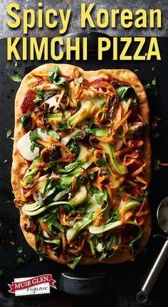 Korean fusion kimchi pizza uses bold flavors from gochujang paste  and kimchi combined with fast Muir Glen Organic pizza sauce, for a delicious veggie-filled weeknight dinner.