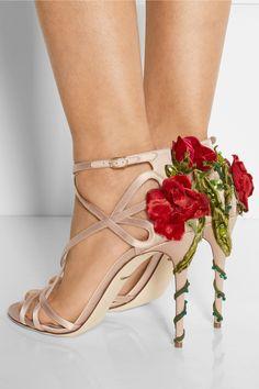 Dolce & Gabbana|Embellished satin sandals|NET-A-PORTER