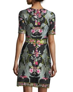 Marchesa Notte Short-Sleeve Embroidered Mini Cocktail Dress | Neiman Marcus