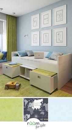 #Gestaltungsidee #Kinderzimmer #Jungen #Weltkarte #Fototapete #Kindertapete  #grün_blau #Bett_mit_Stauraum_Sitzhocker