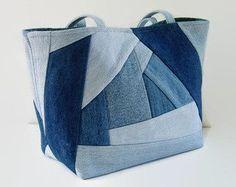 Large Jean Tote Bag Denim Patchwork Purse by SuzqDunaginDesigns