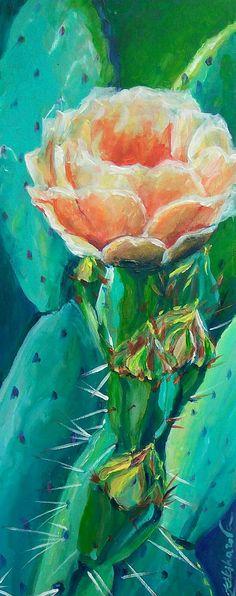 Opuntia flower original acrylic painting cactus painting