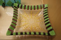Spider web Fused glass bowl