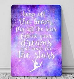 Gymnastic jump off the beam quote sign A4 metal plaque girls bedroom wall art