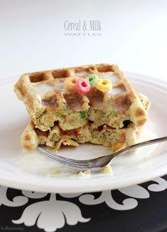 Fruit Loop Waffles with Milk Glaze