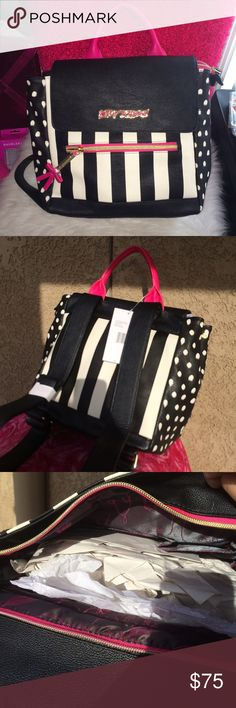 Betsey Johnson backpack •NWT retail $98 •Hot pink/black/white stripes •Approx 9Hx 10L X 4D inches  •Super adorable to carry on your arm or as a backpack , purchase on merc🅰ri for less and get a 10%coupon when you check out Betsey Johnson Bags Backpacks