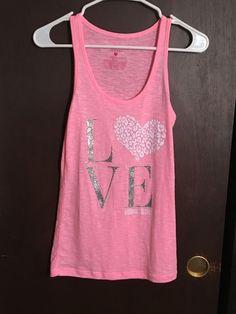 Victoria's Secret Pink Tank Top Pink White Heart Detail Silver Glitter Logo S | eBay