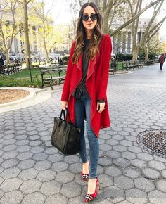 Arielle Noa Charnas, Red Double-Face Suede Drape Duster & Red Plaid Heels