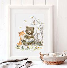 Reading Animals Print, Giclee, Woodland Nursery Art, Bear Nursery Art, Woodland Animals Reading, Forest nursery art, Fox, Bunny, Bear