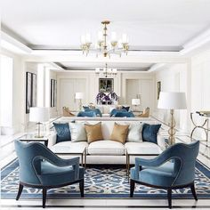 Blue, gold and white luxury living room ideas.
