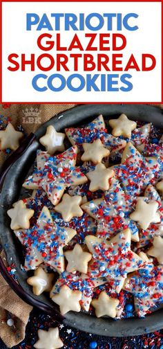 A classic, old-fashioned shortbread recipe that has been festively decorated and garnished to create these beautiful Patriotic Glazed Shortbread Cookies.  #patriotic #4thofjuly #independenceday #baking #redwhiteandblue #redwhite&blue #cookies #sprinkles #shortbread Easy Cookie Recipes, Brownie Recipes, Baking Recipes, Dessert Recipes, Bar Recipes, Kitchen Recipes, Recipes Dinner, Potato Recipes, Drink Recipes