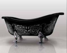 bathtub clawfoot painted black silver grey floral stencil