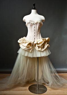 Corset Burlesque Costume (off white with train) Steampunk Wedding Dress, Dupioni Silk Fabric, Burlesque Corset, Gold Corset, Prom Dress With Train, Light Peach Color, Dress Form Mannequin, Prom Dresses, Wedding Dresses