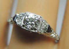 Antique European Diamond Engagement Ring Platinum Ring Size 8.5 EGL USA Art Deco #Ring