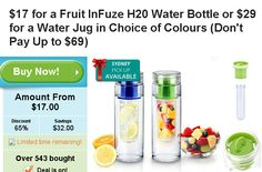 InFuze H20 water bottle for $17  , Material: BPA free Tritan Capacity: 780ml Color box size: 8x8x23.5cm   http://digbargain.com.au/coupon/infuze-h20-water-bottle-for-17/