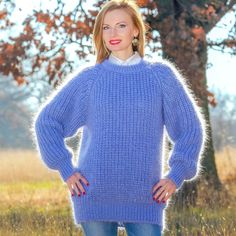 SUPERTANYA BLUE Hand Knitted Sweater Fuzzy Soft Mohair Jumper Crewneck Pullover #SuperTanya #Crewneck