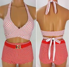 Reversible! Retro Pin Up Vintage High Waist Bikini Swimsuit Set - size XL