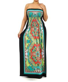 Love this Green & Black Paisley Strapless Maxi Dress - Plus on #zulily! #zulilyfinds