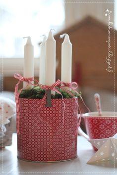 adventtikynttilät, greengate peltipurkki, adventti, jouluinen koti, joulu sisustus