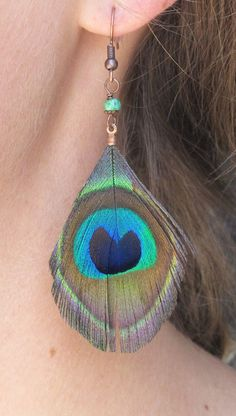 Peacock Feather Earrings, by jUUwelry on Etsy