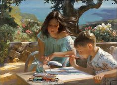 "Vladimir Volegov 6 августа 2014 г. в 3:36 Recently commissioned ""Sister and brother"", oil on canvas #sister #brother #summer #oil"