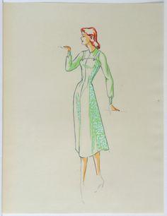 ORIGINAL WOMENS FASHION DESIGN ILLUSTRATION 1950s  008