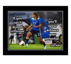 Ready to frame motivational soccer poster. Tobin Heath inspirational quote. Click to get yours today! Motivational Wall Art, Inspirational Wall Art, Heath Quotes, Soccer Motivation, Soccer Inspiration, Tobin Heath, Soccer Poster, Girls Soccer, Soccer Quotes