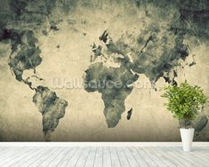 Ancient World Map Sketch wallpaper mural room setting
