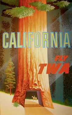California / TWA poster by David Klein.  During the 50s-60s he worked at TWA as one of their in-house designers (via Cafe Cartolina: 2010-04-18).