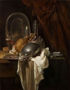 Willem Kalf (Rotterdam 1619-1693 Amsterdam) A Still Life with Silver, Pewter and Gilt Objects on a partly draped Table